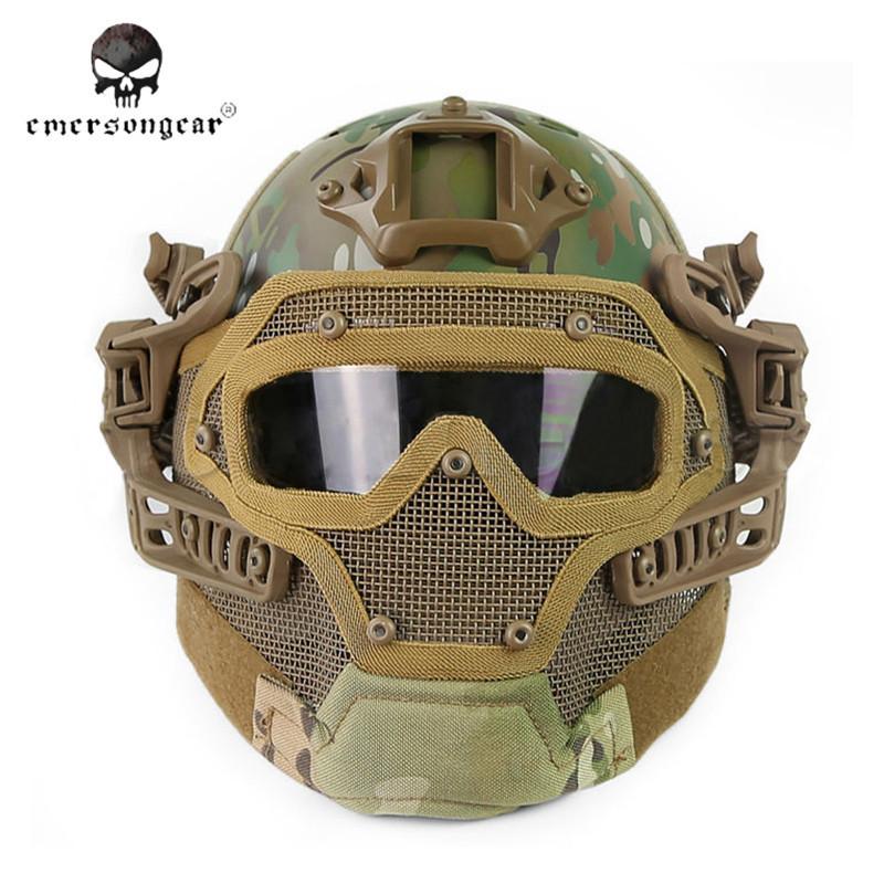 Prix pour Emerson Système G4/Set PJ Casque avec Protection Globale Verre Visage Masque Multi-fonction Tactique Airsoft Casques avec lunettes $
