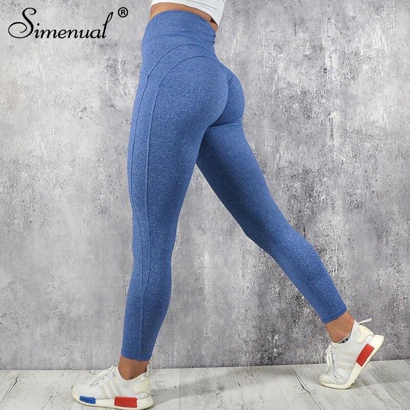 Simenual Push-up hohe taille leggings frauen sportswear 2018 freizeitsport bodybuilding geraffte legging fitness kleidung sportliche jegging