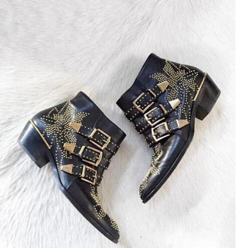 Women New Fashion Leather Rivets Buckle Straps Thick Heel Ankle Boots Spike Studded Decorated Motorcycle Boots Riding Boots 2018 new arrival genuine leather fashion boots thick heel winter shoe motorcycle boots rivets party runway women ankle boots l09