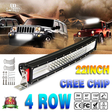 "CO LIGHT Led Light Bar 22"" 384W Cree Chip Curved 8D Reflector 4-Rows Waterproof Car Driving for 4×4 Lada Uaz Gaz Off Road"