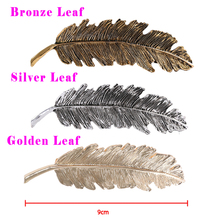 1pc Women Gold/Silver Leaf/Cat/Diamond Feather Hair Clip