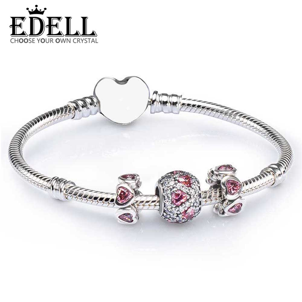 EDELL 100% 925 Sterling Silver SALE - PINK HEART PAVE BALL CHARM BRACELET SET fit DIY Original charm Bracelets jewelry A SetEDELL 100% 925 Sterling Silver SALE - PINK HEART PAVE BALL CHARM BRACELET SET fit DIY Original charm Bracelets jewelry A Set