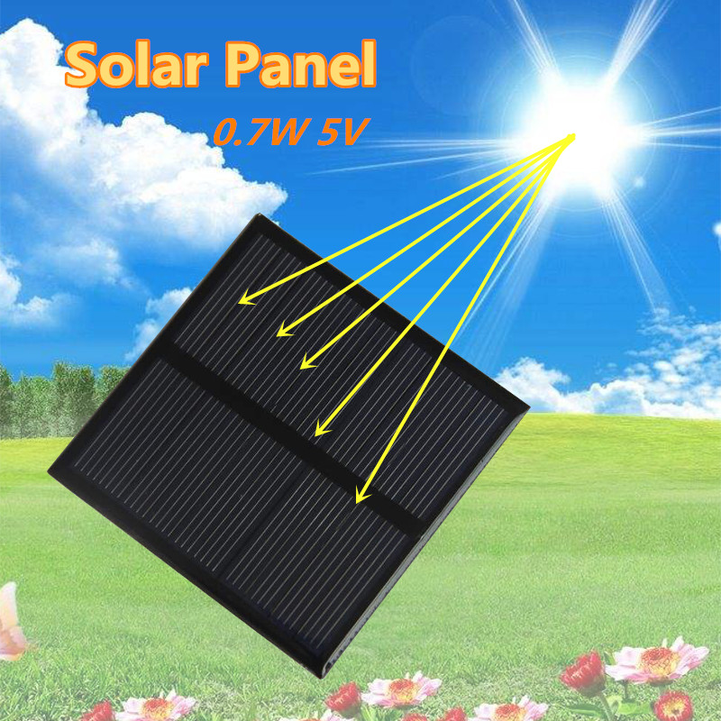 0.7W 5V Solar Panel Portable Power Bank Board External Battery Charging Solar Cell Board DIY Clips Outdoor Travelling