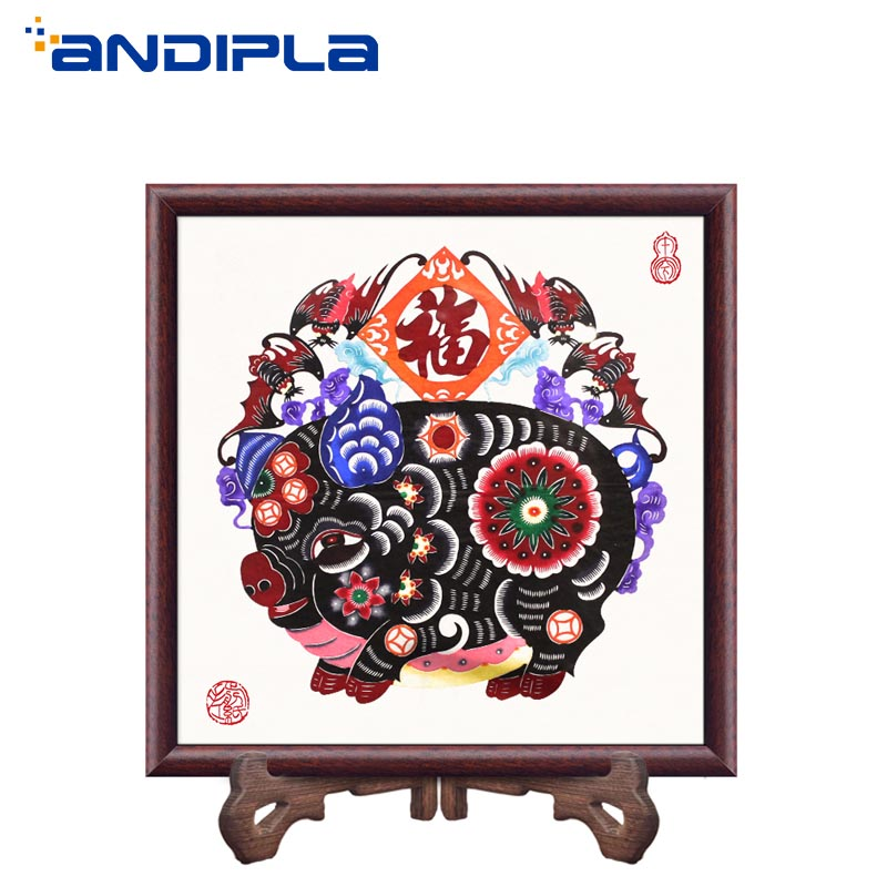 Chinese Handmade Paper Cut Features Crafts Lucky Pig Paper Cutting Vintage Wood Photo Frame Living Room Home Decor Wedding Gifts