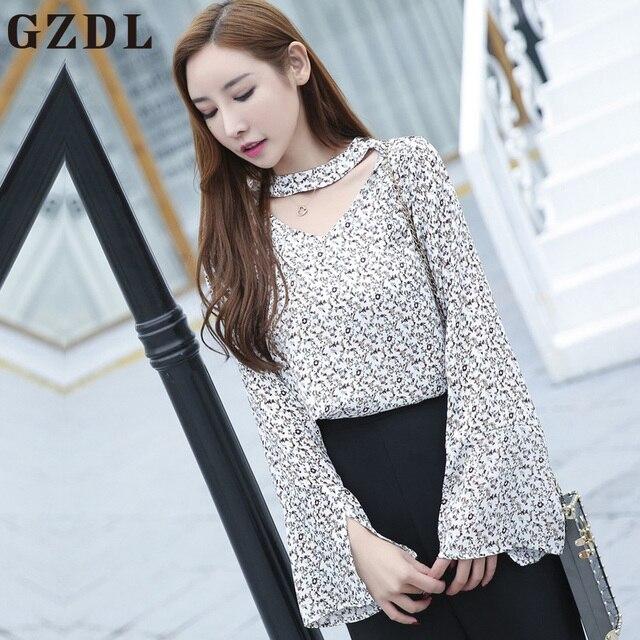 50970f60a126fe GZDL Fashion Women Chiffon Choker V Neck Style Flare Sleeve Shirt Blusa  Print Top Female Slim Fit Long Sleeve Casual Tops CL3744