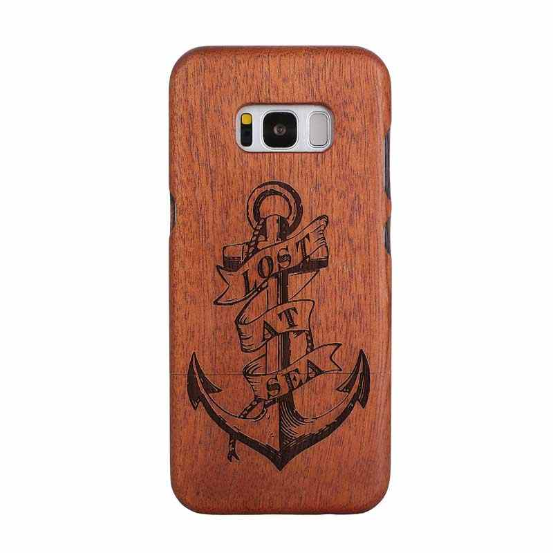 Hot Engraved gifts S8 Plus Natural camera compass Wood Bamboo Hard Case  Back Cover For Samsung S4 mini S8 S8 PLUS S9 PLUS