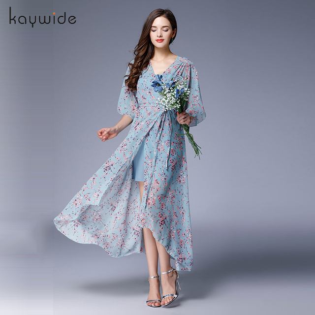 250507cdbcd Kaywide New European Fashion V-neck Long Bohemian Dress Romantic Floral Print  Light Blue Summer Dress Women Chiffon Maxi Dresses