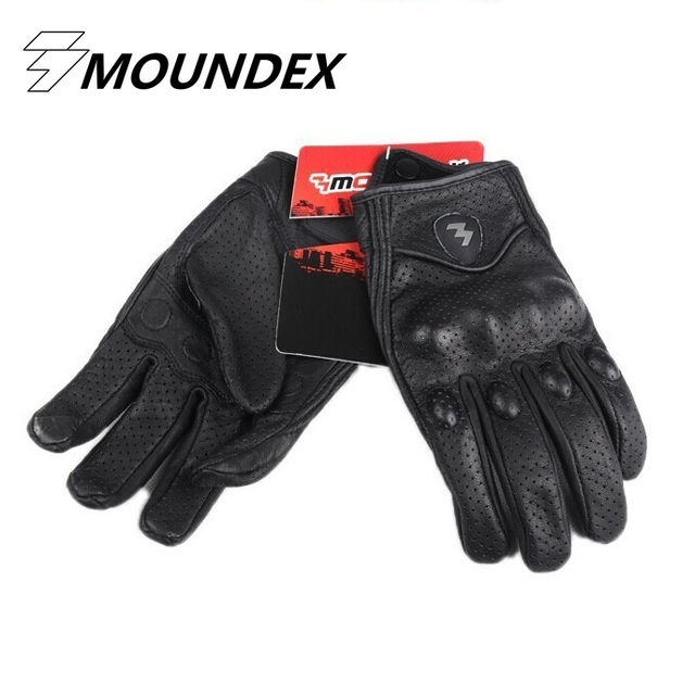 Top Guantes Fashion Glove real Leather Full Finger Black moto men Motorcycle Gloves Motorcycle Protective Gears Motocross Glove