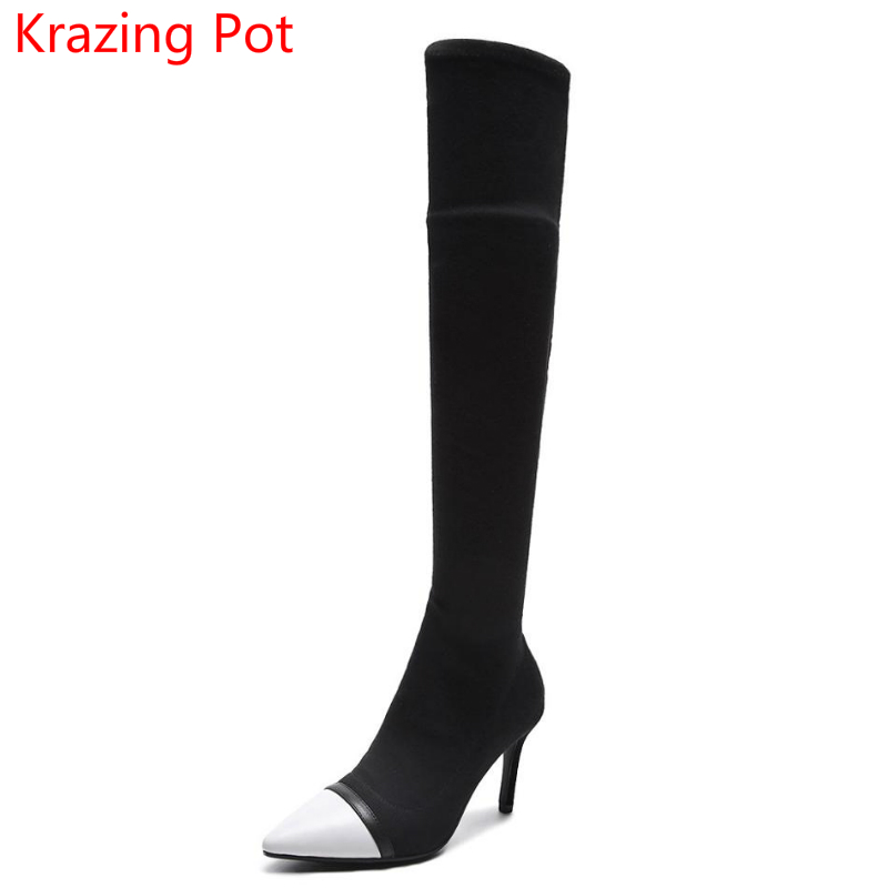 2018 Genuine Leather Mixed Color Fashion Winter Boots Pointed Toe Stiletto High Heels Preppy Style Women Over-the-knee Boots L06 цены онлайн