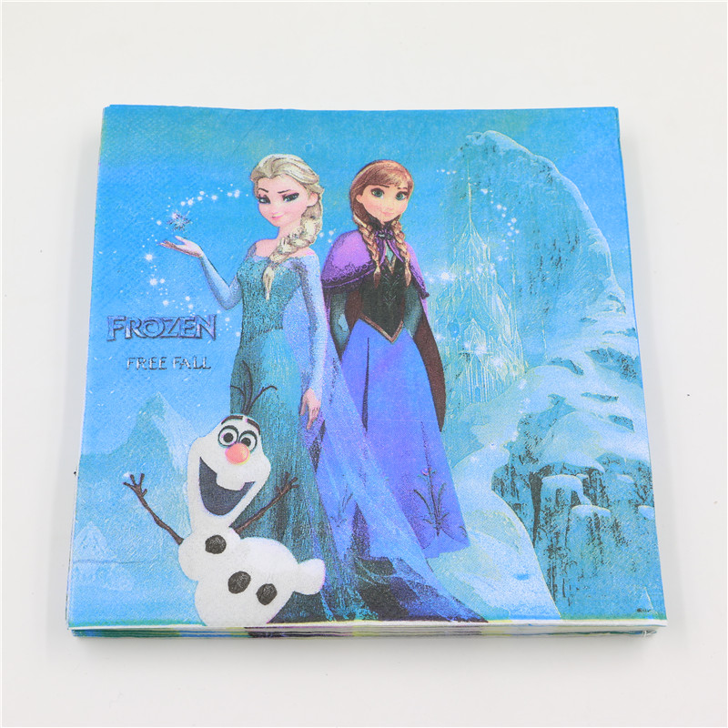 Aliexpress Buy 20Pcs Pack Party Supplies Snow Queen Elsa Anna Theme Decoration Disposable Tableware Napkin With Cartoon Pattern From Reliable
