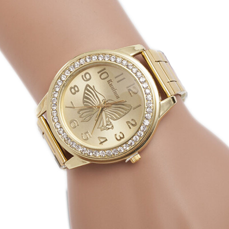 women dress watch luxury diamond dial wrist quartz watches ladies butterfly pattern stainless. Black Bedroom Furniture Sets. Home Design Ideas