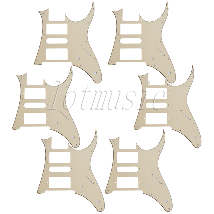 6Pcs New Cream HSH Guitar Pickguard  For Ibanez RG250 Style Replacement musiclily 3ply pvc outline pickguard for fenderstrat st guitar custom