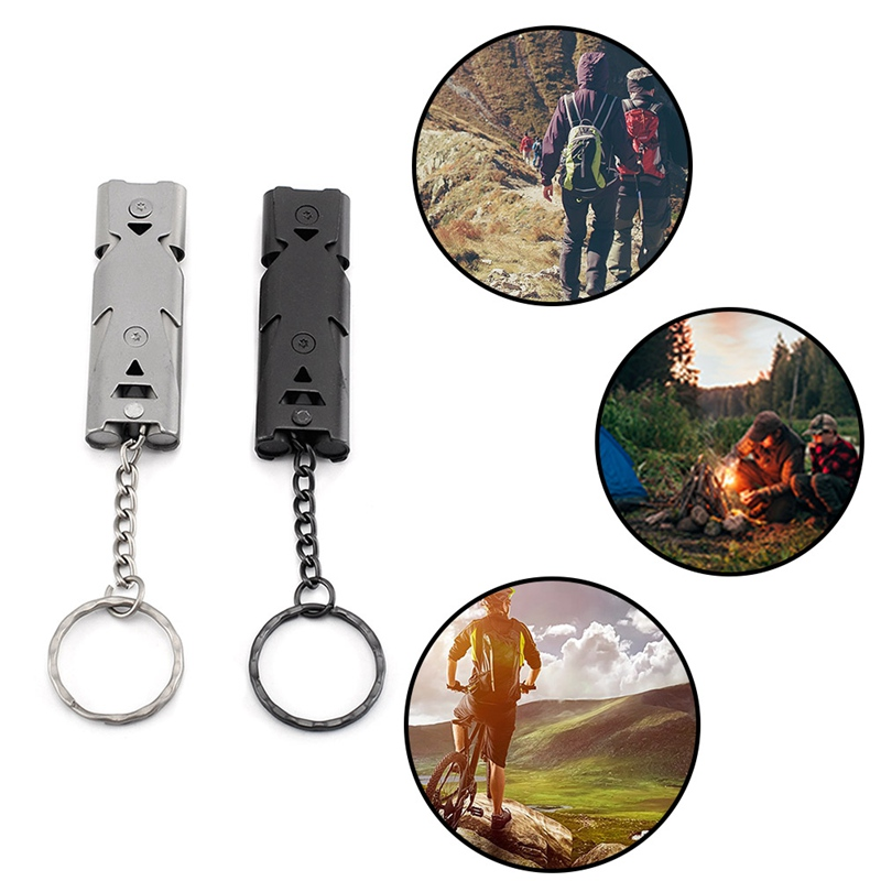 Home Fine 150db Double Pipe Whistle High Decibel Stainless Steel Outdoor Emergency Survival Whistle Keychain Cheerleading Whistle