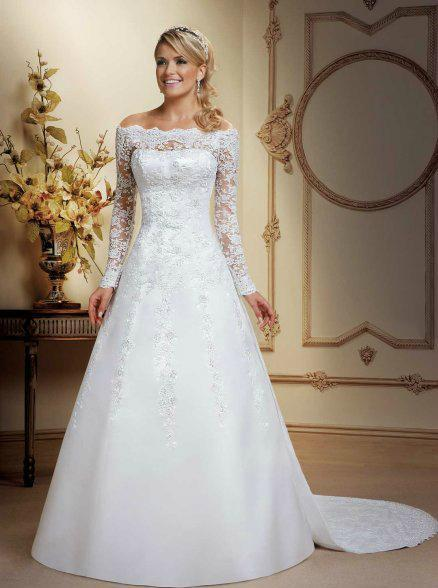 New A Line Detachable Train Long Sleeve Lace Wedding Dress Bridal Gown Size 6 8