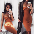New 2016 Sexy Two Way Knitted Strapless With Zipper Knee Length Party Maxi Dress Wrap Dress Robe Sexy Vestidos Club Dress