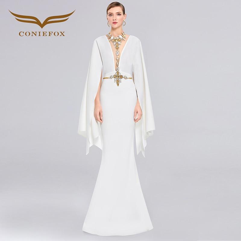 Coniefox 38259 white Deep V sexy backless ladies de festa Appliques avondjurk robe de soiree Party Prom evening dress gowns