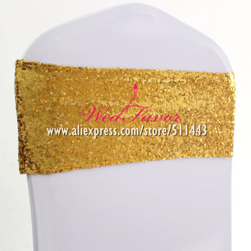 100pcs Sparkly Gold Silver Spandex Sequin Chair Sash Bands Elastic Lycra Glitter Chair Bow Ties Hotel