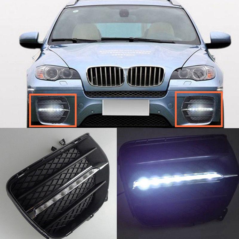 2pcs White Daytime Running Lights DRL LED Fog Lamp for BMW X6 2008 2009 2010 2011 2012 2013