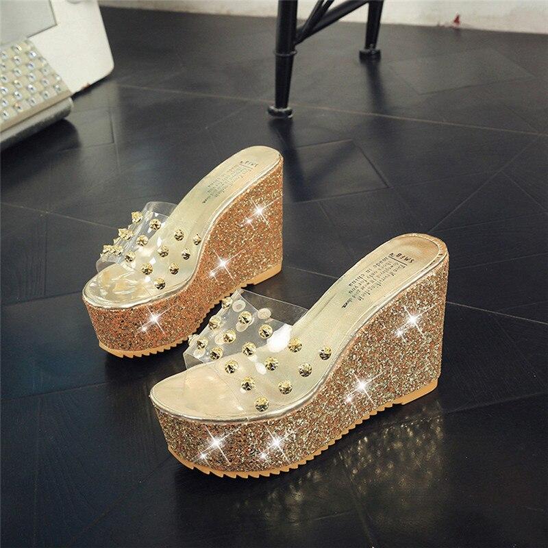 de17f31b7ff Summer Transparent Platform Waterproof Sandals Wedge Women ivets slides  shiny glitter Slippers fashion high heels stilettos-in High Heels from Shoes  on ...