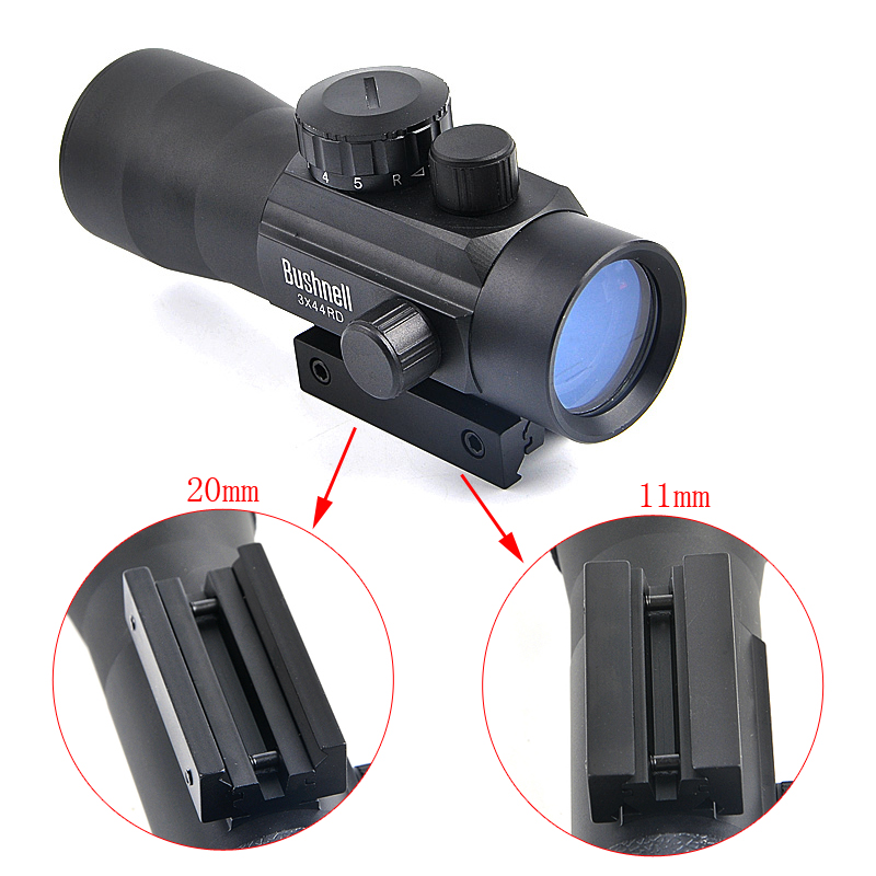 BUSHNELL 3X44 RD Tactical Red Dot Sight Hunting Scope Fit Rail Mount <font><b>11mm</b></font>/20mm Riflescope Rifle Sight Scope