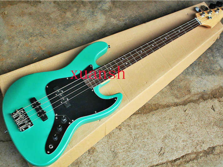 Free Shipping Convenient To Cook Sports & Entertainment Hard-Working Top Quality Fdjb-5021 Green Color Solid Basswood Body Black Plate 4 Strings Electric Jazz Bass