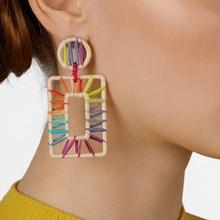 ZWPON Brand Designer Square REISA RAFFIA DROP EARRINGS Summer Colorful Palette Geometric Statement Earrings Wholesale