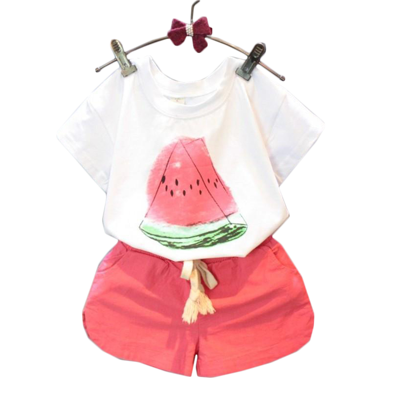 Girls Summer Clothes 2018 New Cotton Casual Kids Suits Watermelon Pattern Shirts Shorts Children Clothing Set 2 3 4 5 6 7 8 Year girls clothes cotton casual children clothing set 2018 new long sleeve shirts striped leggings baby kids suits 3 4 5 6 7 8 years