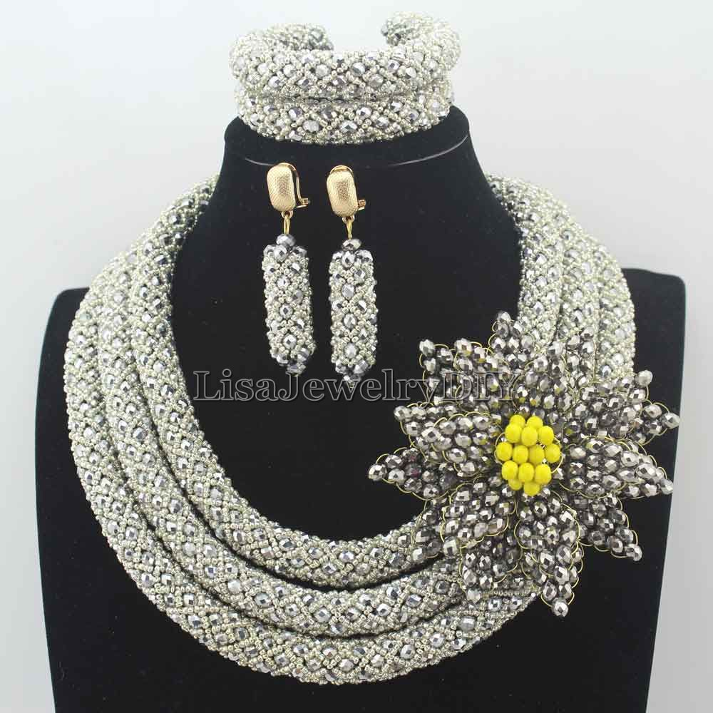 Exclusive Silver Nigerian Wedding Beads African Jewelry Set Crystal Flower Brooch Necklace Set for Bride Free Shipping HD8117