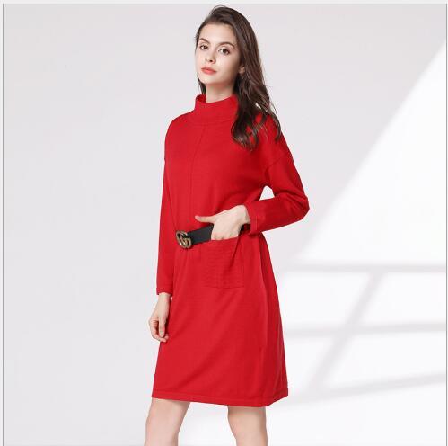 Chandails Manteaux Robe Nouveau Mode Casual Manches Solide Pull Col Longues À 2018 Automne Tricoté Red Femme Femmes Roulé v7O5nqxO