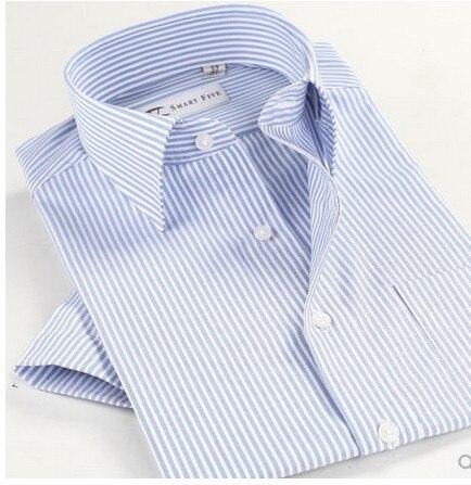 Новый 2014 Лето Мужчины С Коротким Рукавом 100% Хлопок Случайные Полосы Рубашки Плюс Размер