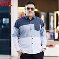 Autumn plus size shirt male loose long-sleeve top fat square collar shirt long sleeve shirt 8XL fat people business casual shirt