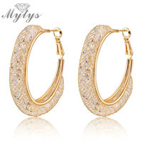 Big Hoops Gold Earrings Clear Zircon Dangles Crystal Earrings 18k GP E268