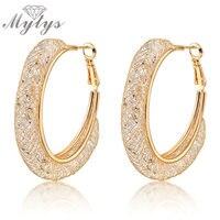 Big Hoops Gold Earrings Clear Zircon Dangles Crystal Earrings 18k GP E268