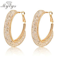 Mytys Grandes Aros de malla de Oro pendientes zircon claro cuelga Pendientes de cristal GP E268