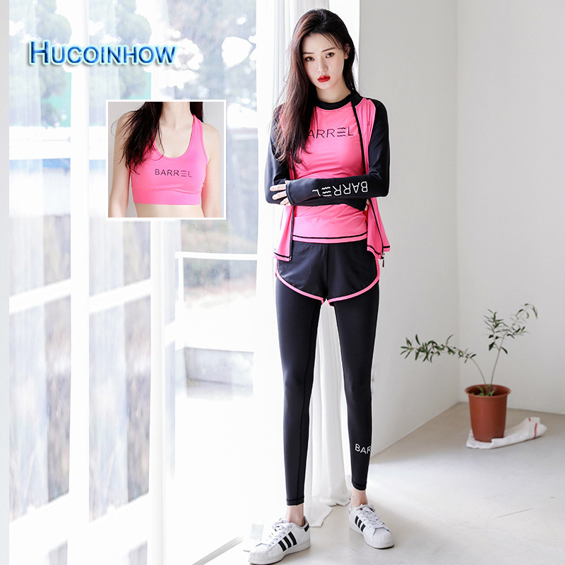 4 Piece Yoga Set Women Sport Leggings And Top Ladies Quick Dry Polyeester Workout Sport Wear Professional Clothes For Training 2017 women s yoga pants workout capri leggings running tights side pockets functional pattern patchwork sports leggings jnc2315