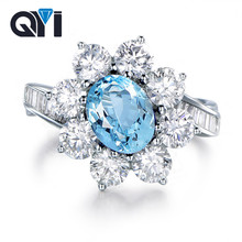 QYI 2 ct Oval Natural Gemstone Ring 925 Sterling Silver Party Finger Jewelry Sky Blue Topaz Ring For Women