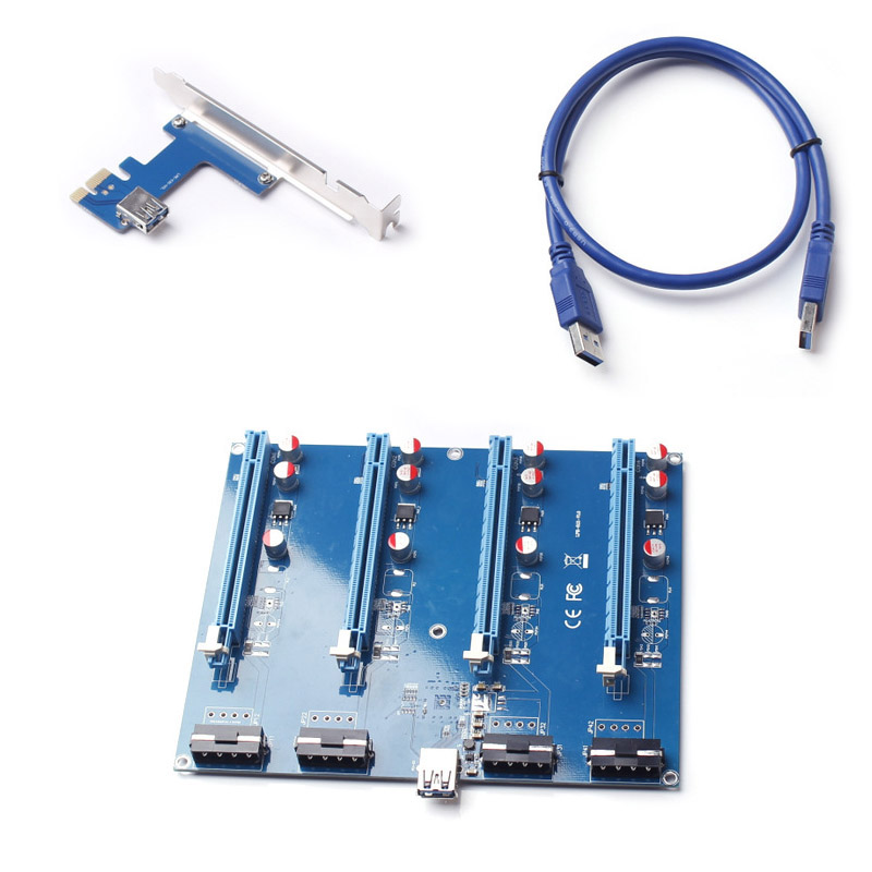 где купить  60CM PCIE 1X To 16X Riser Card Extension Adapter 1 To 4 PCI Express USB3.0 Cable For Bitcoin Mining Machine QJY99  дешево