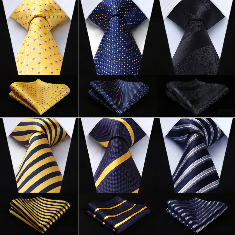Men Extra Long Tie Pocket Square Classic Party Wedding Dot Striped 3.4