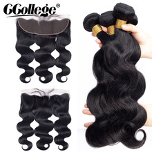 Ccollege Brazilian Body Wave Hair Bundles With Closure Non Remy Hair Extensions Weave Human Hair Bundles With Frontal Preplucked(China)