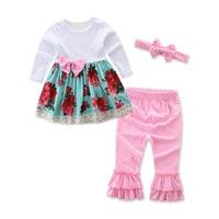 Baby Meisje Kleding Lente Herfst Bloemen Lange Mouwen Jurk + Stip Broek + Hoofdband 3 STKS Outfits Kids Bebes Jogging Suits