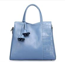2016 High Quality Solid Genuine Leather Tote Bags Spring Summer Elegnat Tassel Flowers Fashion Women Brand Handbags