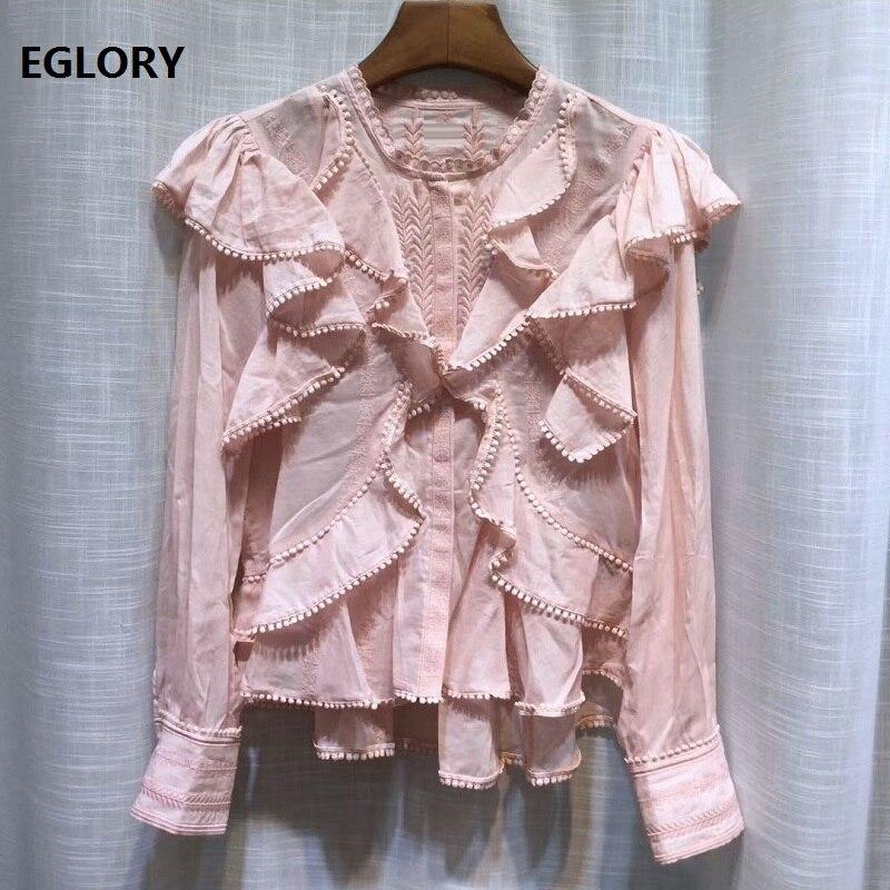 100% soie Blouse chemise 2019 été mode rose noir Blouses femmes feuilles broderie volants à manches longues hauts chemise en soie coton