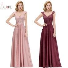 Купить с кэшбэком 2019 Sexy Elegant Burgundy Chiffon Long Bridesmaid Dresses Spaghetti Strap Sleeveless Formal Party Gown Wedding Guest Dress