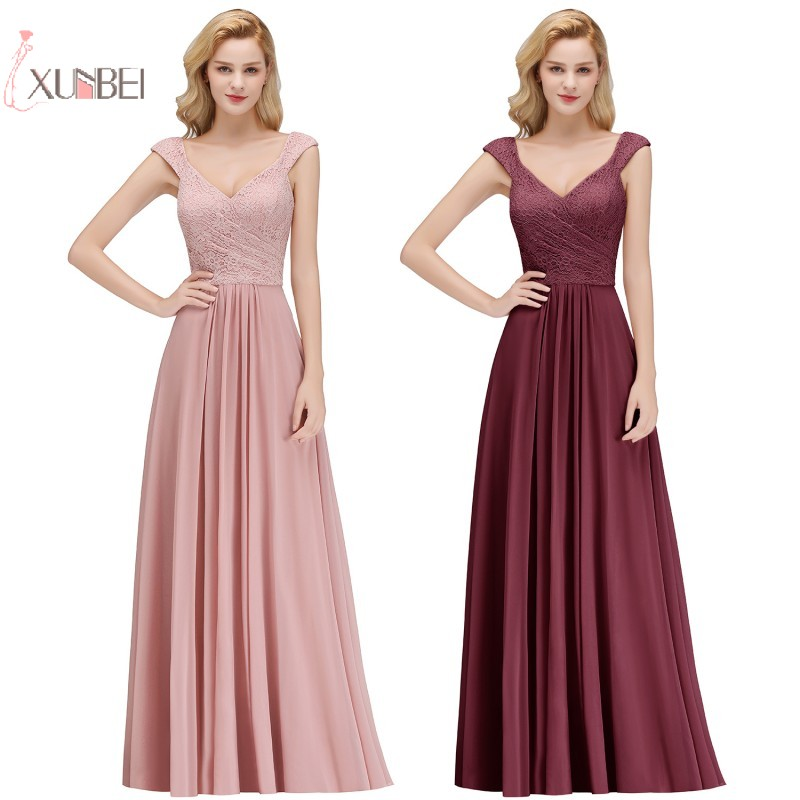 2019 Sexy Elegant Burgundy Chiffon Long   Bridesmaid     Dresses   Spaghetti Strap Sleeveless Formal Party Gown Wedding Guest   Dress