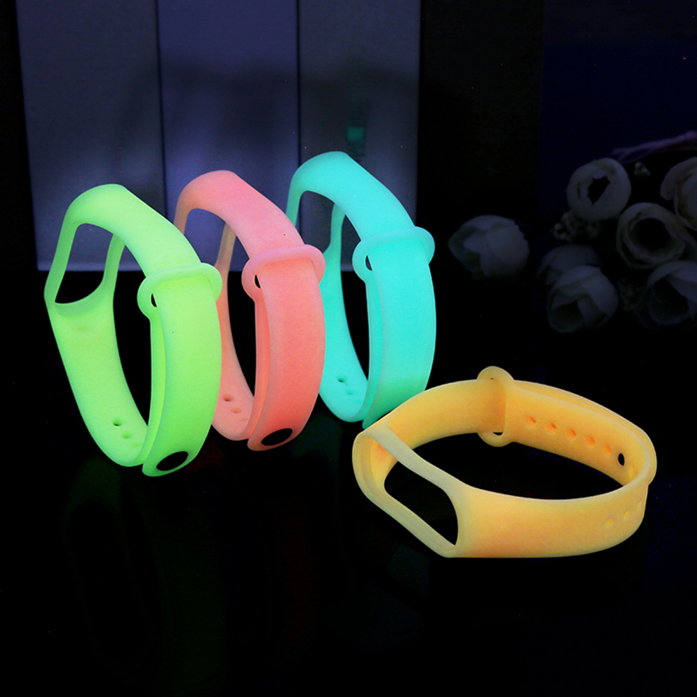 For Mi Band 3 4 Luminous Wrist Strap For Xiaomi Mi Band 3 Sport Silicone Colors Bracelet For Xiaomi MiBand4 Smart Watch Bracelet