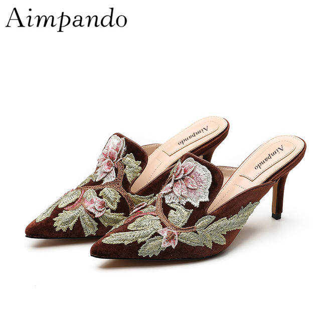 Ethnic Trend Embroidery Mules Thin Heels Pointed Toe Luxury Velvet Lazyman Shoes Women Zapatos Mujer