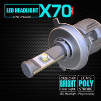 hot sale replace HID headlight one set 2 pcs 15600lm h4 led headlight bulb h4 120w 12v high low beam 6000k white color for car