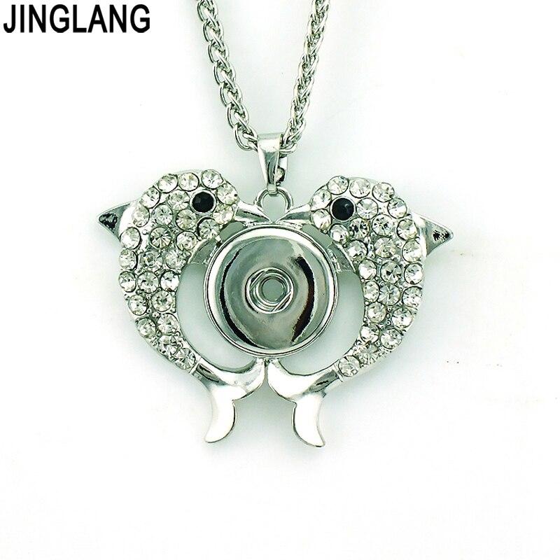 Módní přívěskové náhrdelníky 18 mm knoflíky knoflíky dvojité drahokamu delfín vyměnitelné náhrdelníky pro ženy šperky
