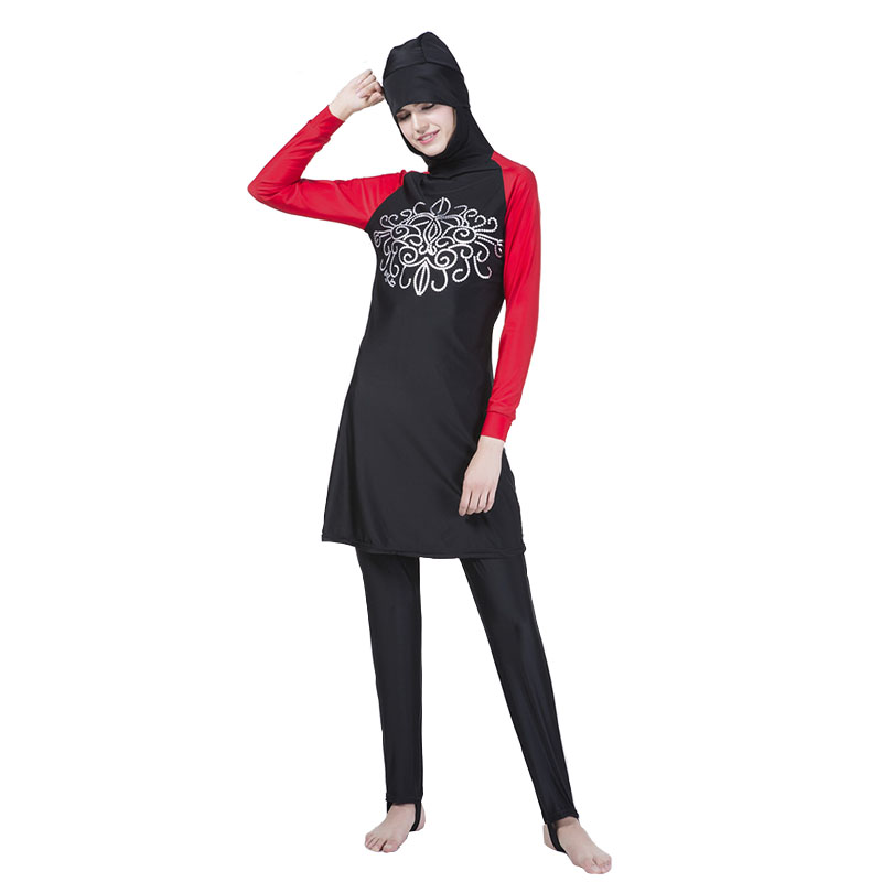 Fashion print Musulman Women's Modest Islamic Swimsuits connection Hijab Full Cover swimsuit women Muslim Swimwear Black 4XL