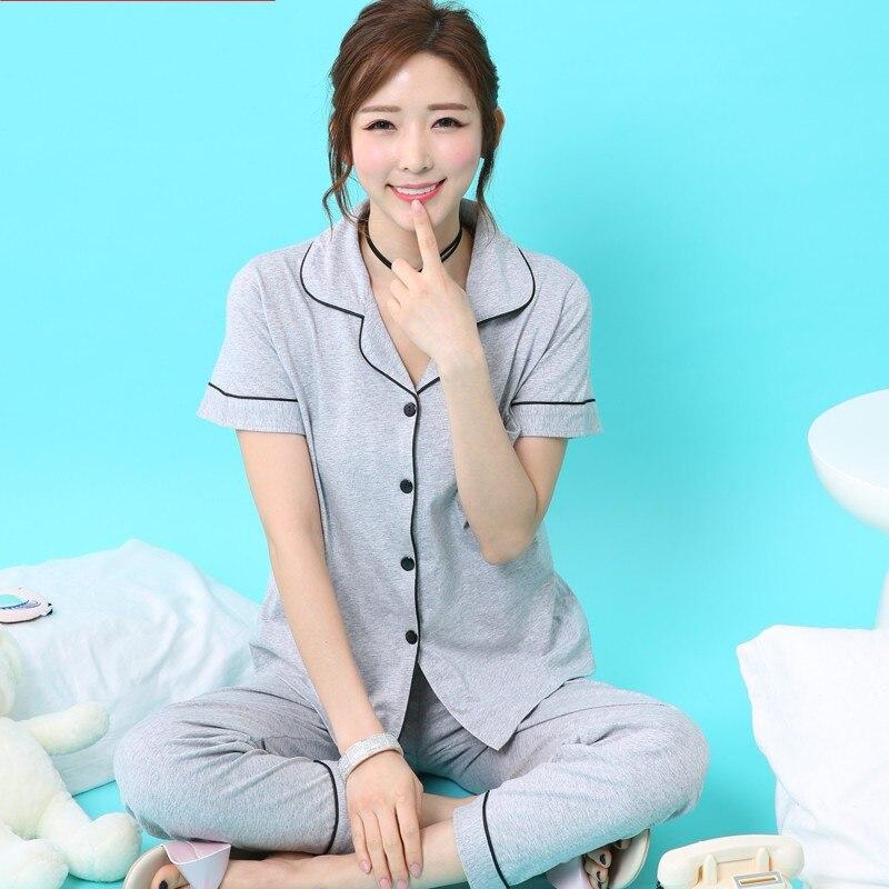 tops Summer large big size 4XL sleepwear women's summer 100% cotton short sleeve pants thin plus size lounge   Pajama     Sets